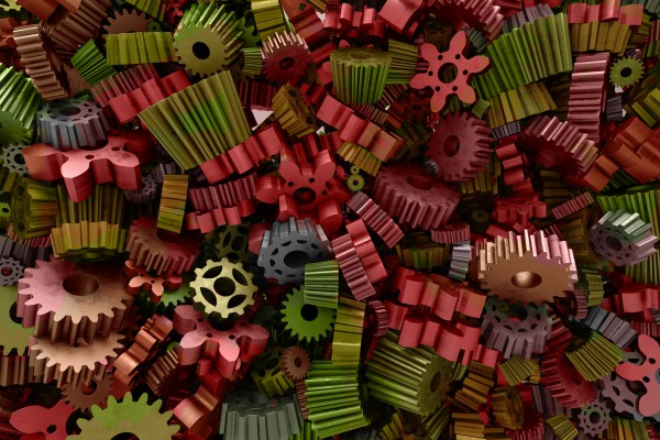 3d rendering background with random form of gear and cogwheels